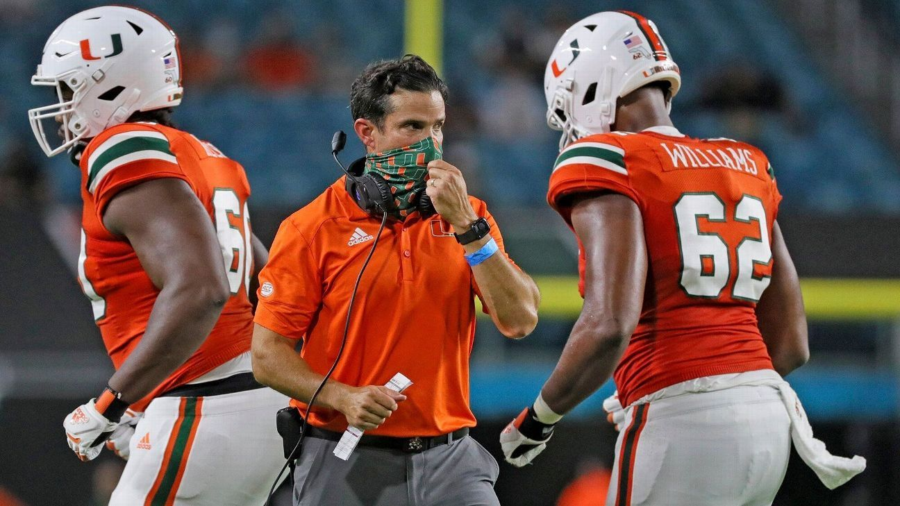 Miami Hurricanes football coach Manny Diaz tests positive for coronavirus