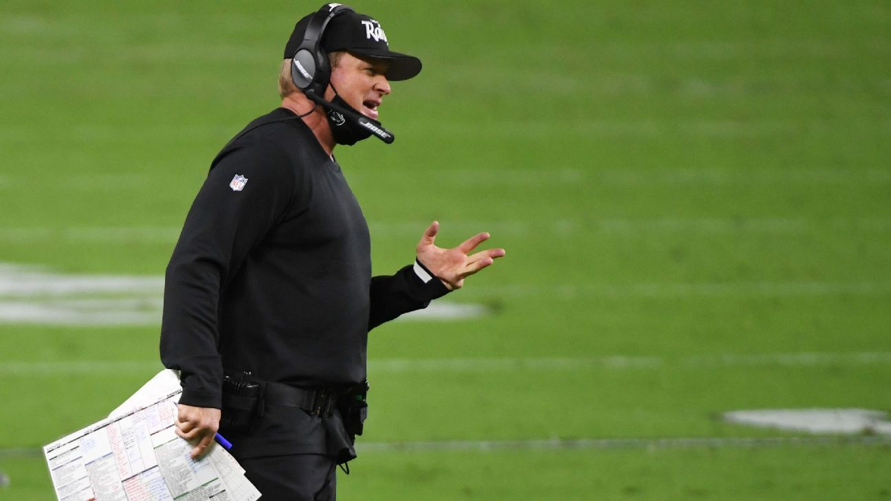 Source: Gruden, Payton fined for mask negligence
