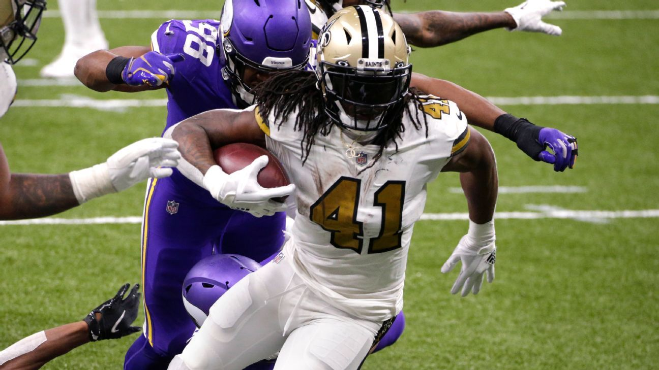 Alvin Kamara ties NFL record with 6 rushing TDs in New Orleans Saints' 52-33 win – ESPN