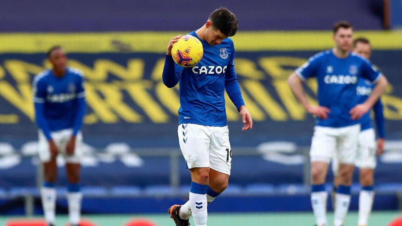 James quiso pero no pudo, en la derrota de Everton contra Newcastle