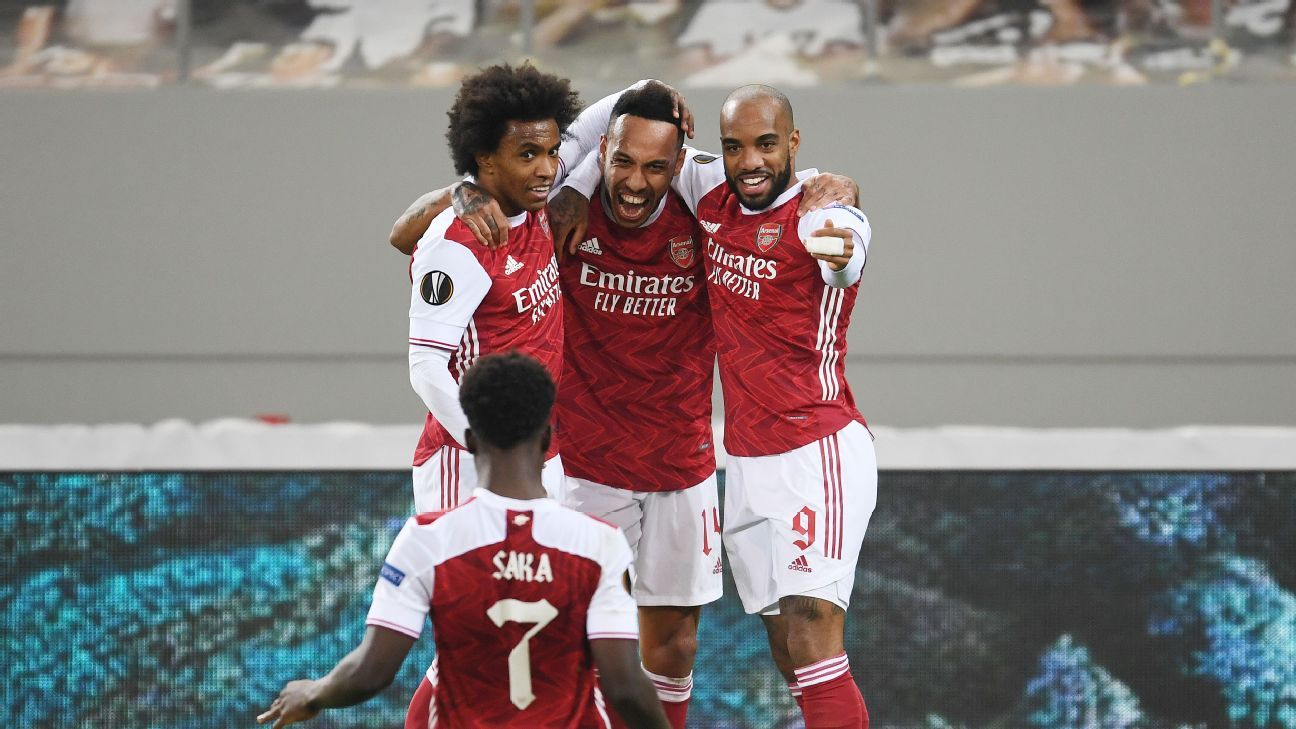 Saka 8/10, Auba 7/10 as Arsenal rally late to keep their European League dreams alive - ESPN India