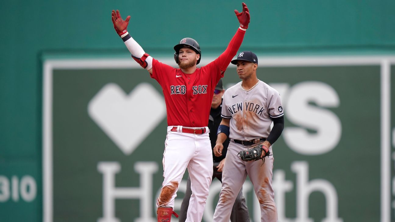 Boston Red Sox end Domingo German's no-hit bid in 8th inning, storm back to beat New York Yankees - ESPN