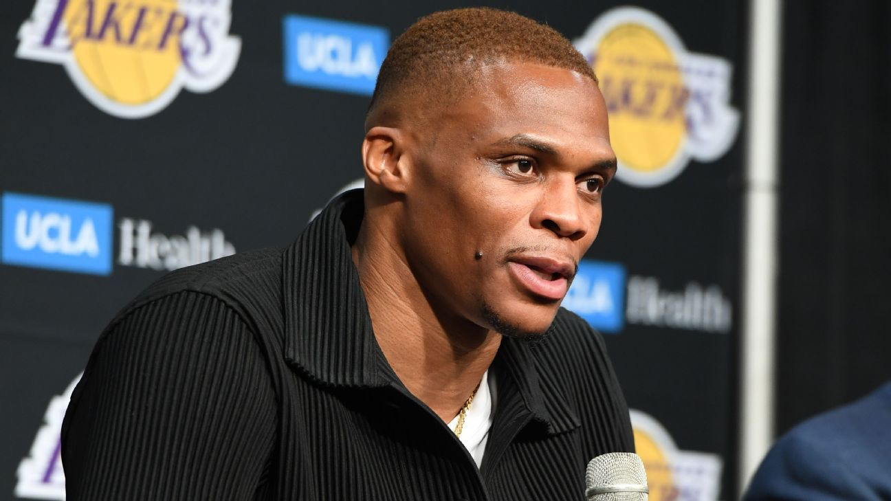 Los Angeles Lakers guard Russell Westbrook says 'it still hasn't hit me yet' to be part of team he cheered for growing up