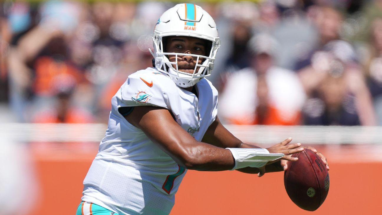 Miami Dolphins QB Tua Tagovailoa (ribs) expected to be ready to return Oct. 17 vs. Jacksonville Jaguars, source says