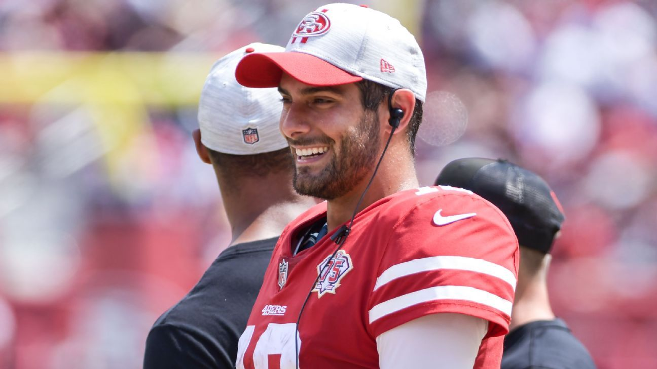 San Francisco 49ers' Kyle Shanahan remains coy on QB choice; Jimmy Garoppolo indicates 'it's official'