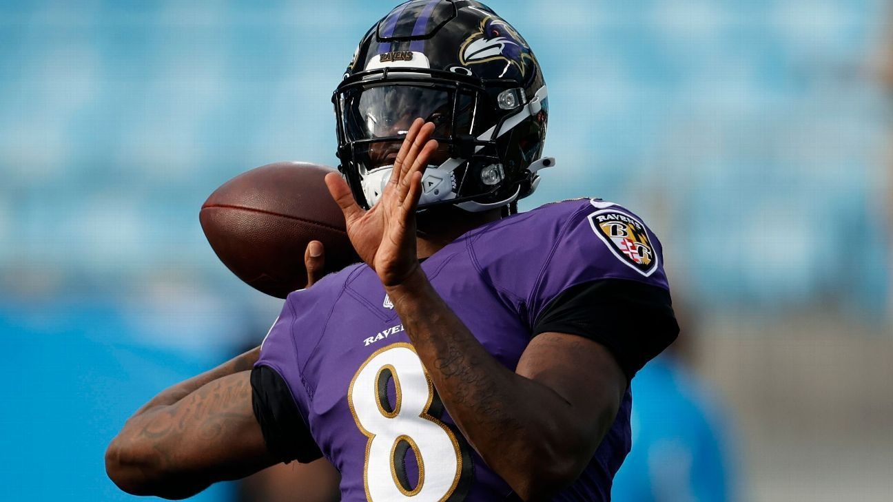 Baltimore Ravens QB Lamar Jackson returns to practice after missing time with back ailment
