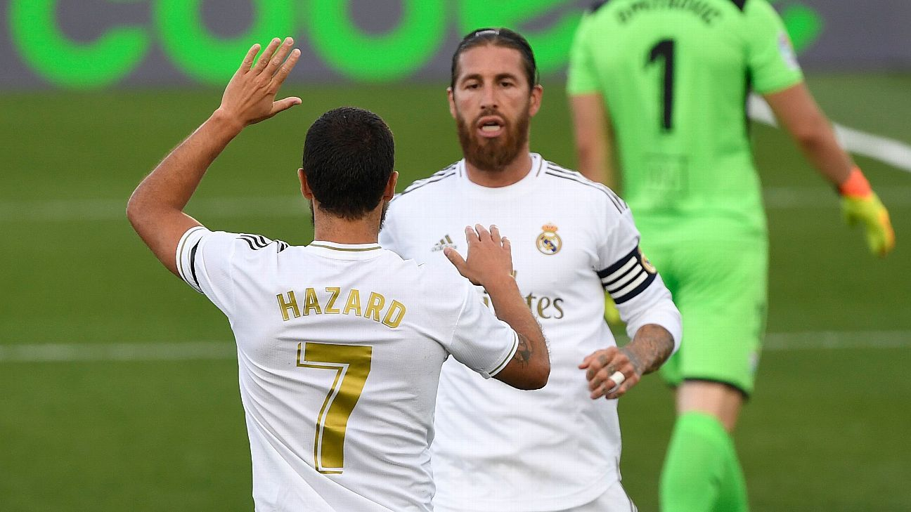 Photo of Sergio Ramos, Eden Hazard both 8/10 as Real Madrid close the gap on Barcelona   ESPN.com