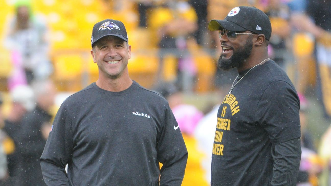 Pittsburgh Steelers' Mike Tomlin, Baltimore Ravens' John Harbaugh to face off record 25th time